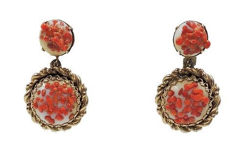 1950s Schiaparelli Art Glass Drop Earrings