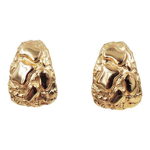"""1970s Napier Goldtone """"Gold Nugget"""" Half Hoop Earrings"""