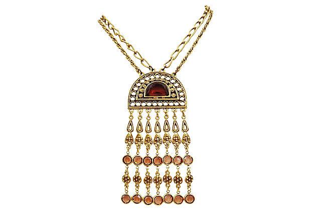 1960s Goldette Faux-Topaz Pendant Necklace