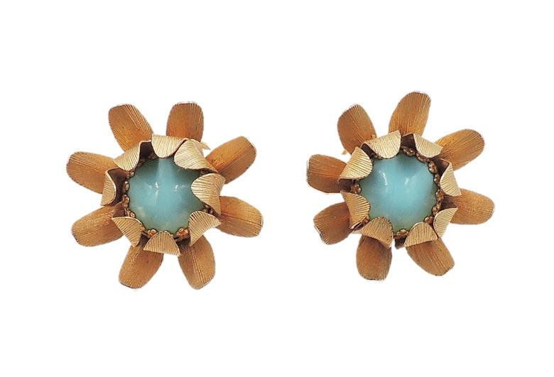 1960s Napier Faux-Turquoise Rhinestone Flower Earrings