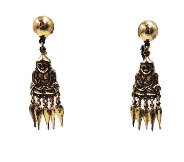 1950s Napier Sterling Buddha Dangle Earrings