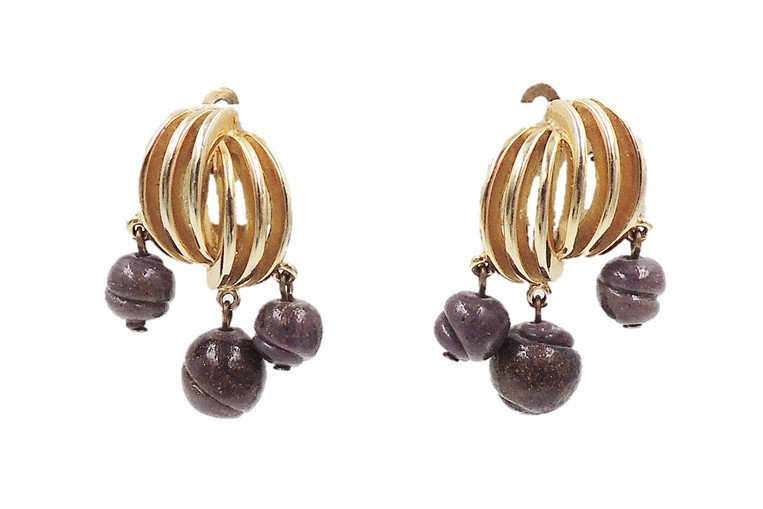 Schiaparelli Purple Glass Drops Earrings