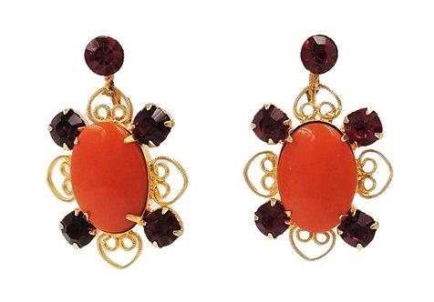 1960s Goldtone Filigree Faux-Carnelian & Faux-Ruby Drop Earrings