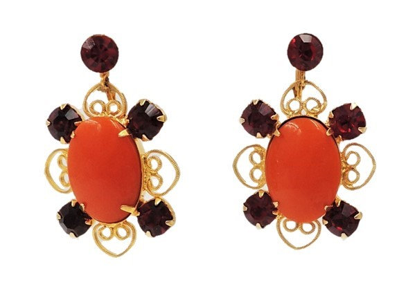 1960s Goldtone Filigree Faux-Carnelian & Faux-Ruby Drop Earrings