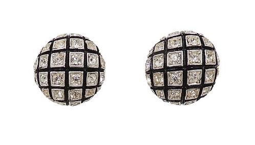 1950s Castlecliff Black Enamel & Rhinestone Earrings