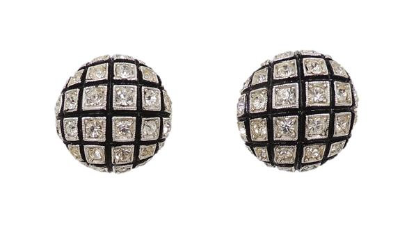 1950s Castlecliff Black Enamel & Rhinestone Earrings