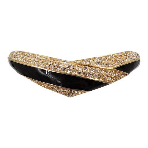 1987-88 Napier Goldtone Black Enamel & Pave Rhinestone Cuff Bracelet
