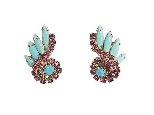 1960s Faux-Turquoise & Faux-Ruby Rhinestone Earrings