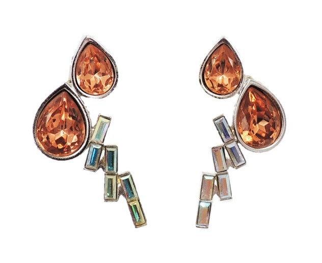 1980s Monet Book Piece Peach & AB Baguette Rhinestone Earrings