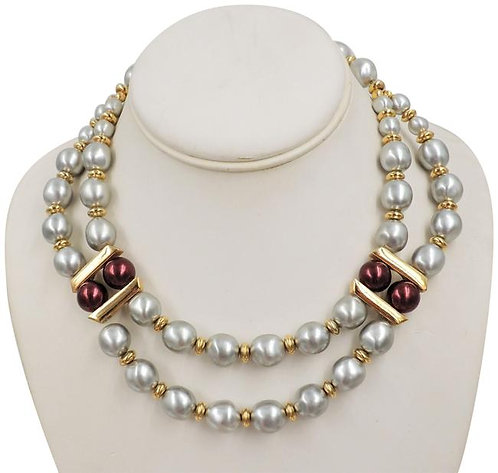 1980s Napier Grey Faux-Baroque Pearls & Red Beads Festoon Necklace