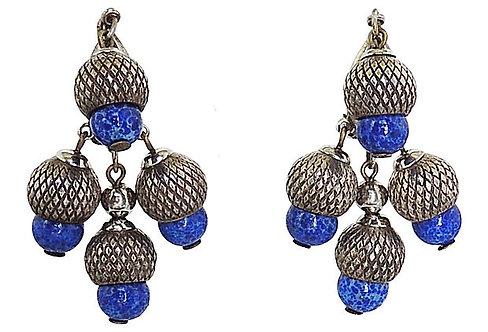 1950s Napier Silvertone Faux-Lapis Rhinestone Acorn Earrings