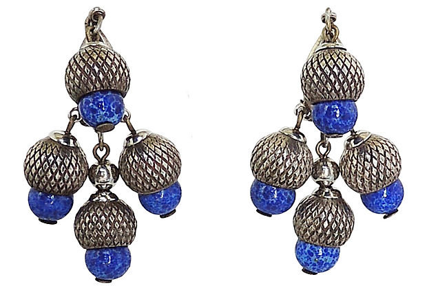 1950s Napier Faux-Lapis Rhinestone Acorn Earrings