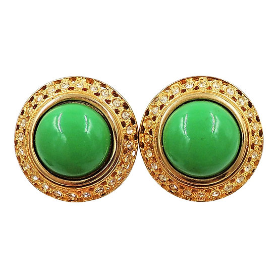 1980s Valentino Goldtone Green Cabochon Earrings