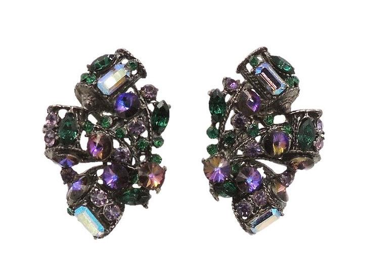 1980s Thelma Deutsch Japanned Rhinestone Earrings