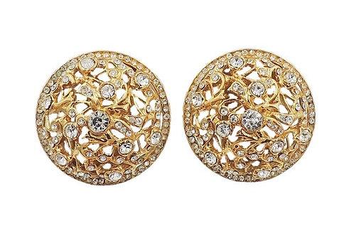 1980s Bijoux Cascio Domed Rhinestone Earrings