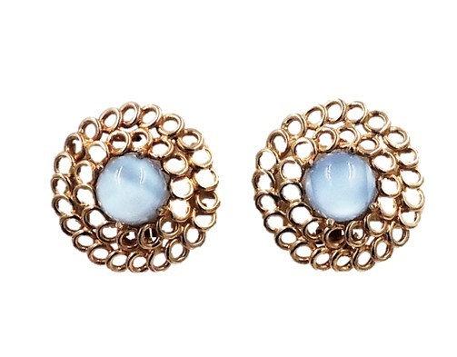 1950s Reja Faux-Blue Moonstone Earrings