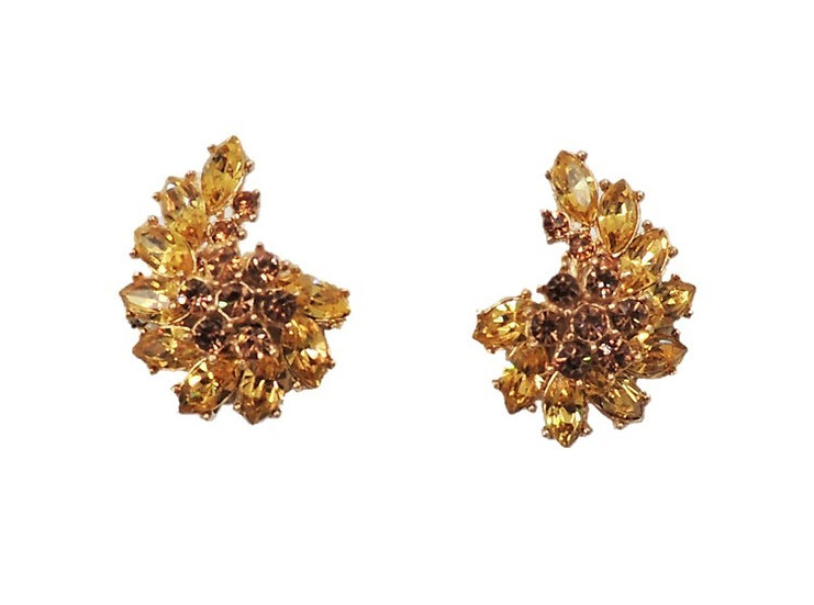 Trifari Faux-Citrine & Faux-Topaz Rhinestone Earrings