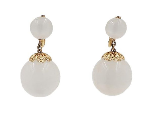 1950s Napier White Moonglow Drop Earrings