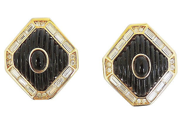 Dior Black Lucite & Faux-Onyx Earrings, 1984