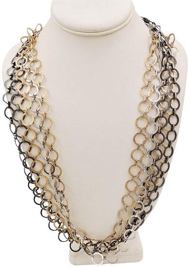 1970s Napier Tri-Tone Long Round Link Necklace