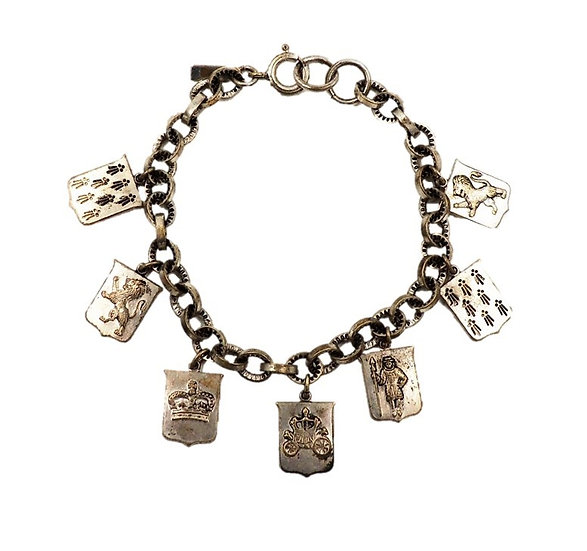 1930s Monet Coat of Arms Charm Bracelet