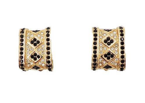 1980s Ciner Goldtone Faux-Onyx & Clear Rhinestone Earrings