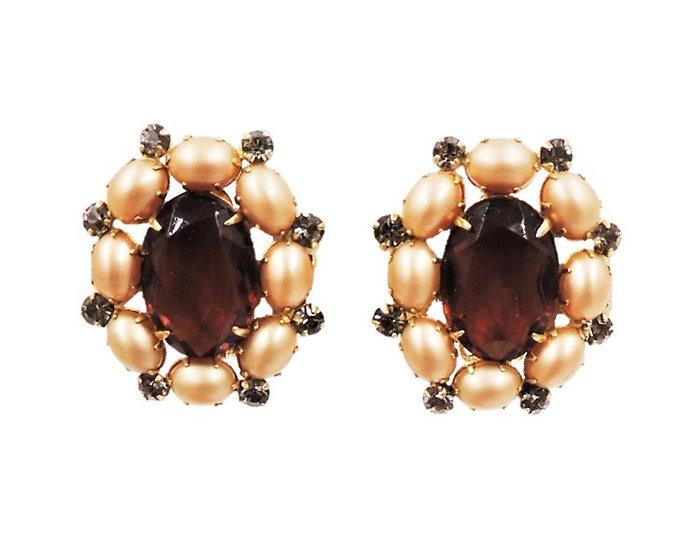 1950s Hattie Carnegie Faux-Topaz & Faux-Pearl Earrings