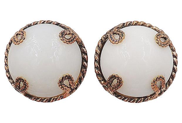 1980s Dominique Aurientis White Cabochon Rhinestone Earrings