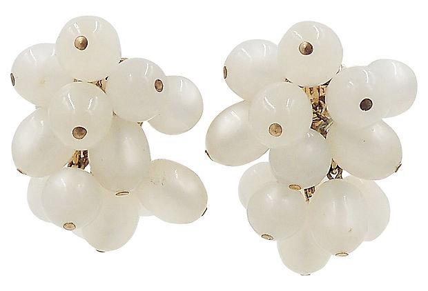 1950s Napier Moonglow Bead Earrings