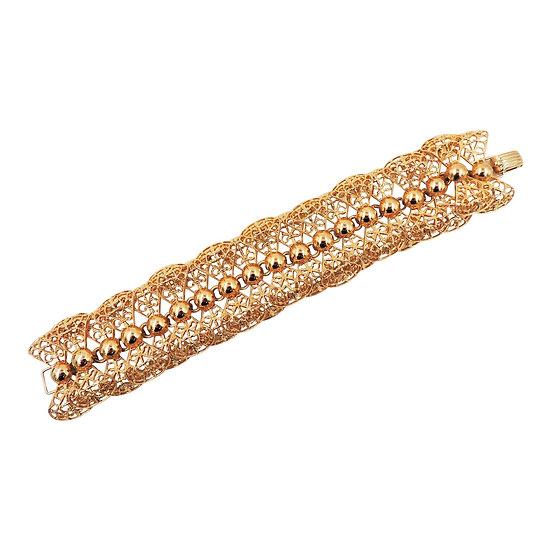 1960s Napier Goldtone Ruffles Bracelet