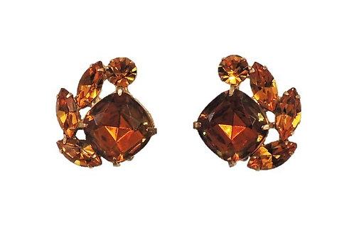 Hattie Carnegie Goldtone Faux-Topaz & Citrine Clip Earrings