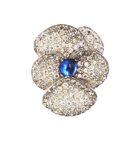 1960s Jomaz Rhodium Plate Pave Cabochon Faux-Sapphire Pansy Brooch