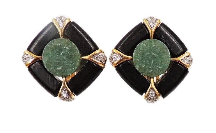 1970s Adolfo for Jomaz Deco Style Faux-Jade Black Resin & Rhinestone Earrings