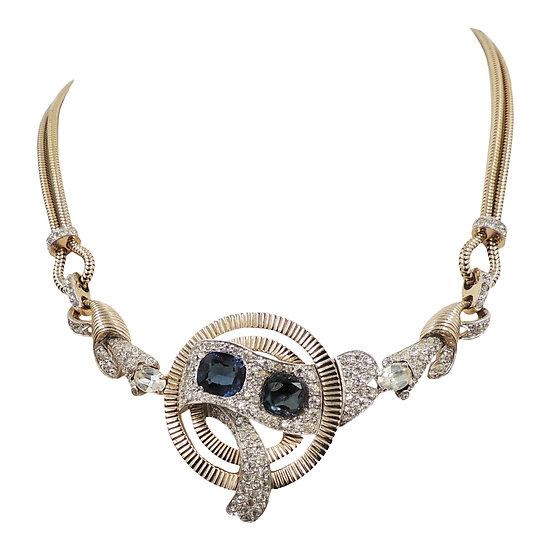 1950s Jomaz Faux-Sapphire & Pavé Clear Rhinestone Necklace