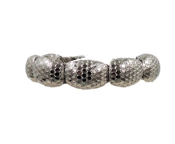 1960s Napier Silvertone Snakeskin Textured Bracelet