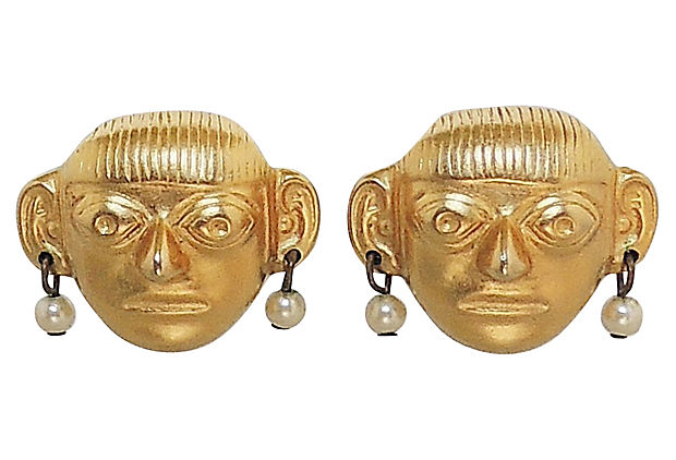 1980s KJL Pre-Colombian Earrings
