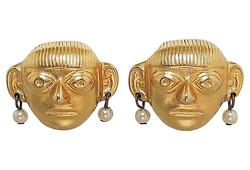 1980s KJL Pre-Colombian Earrings