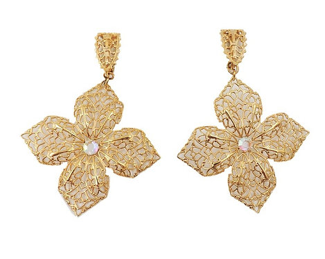 1960s Napier Goldtone Filigree Aurora Borealis Flower Earrings