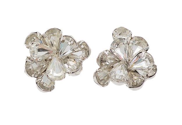 1960s Napier Rhodium Plate Rhinestone Earrings