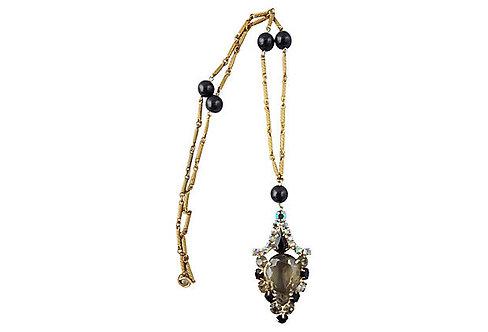 Faux-Black-Diamond Pendant Necklace