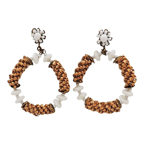1970s Miriam Haskell Woven Wicker & White Beaded Hoop Earrings