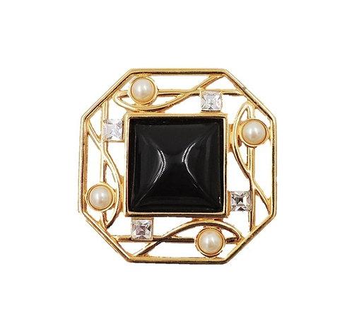 1980s Monet Deco Style Goldtone Faux-Onyx & Pearl Brooch