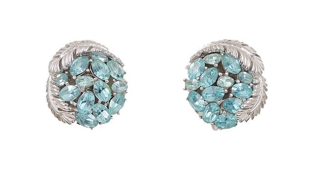 1960s Trifari Faux-Aquamarine Rhinestone Earrings