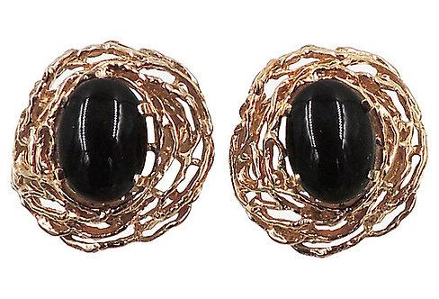 Panetta Faux-Onyx Cabochon Earrings
