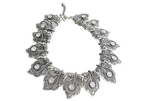 1950s Napier Filigree Foliate & Rhinestone Necklace