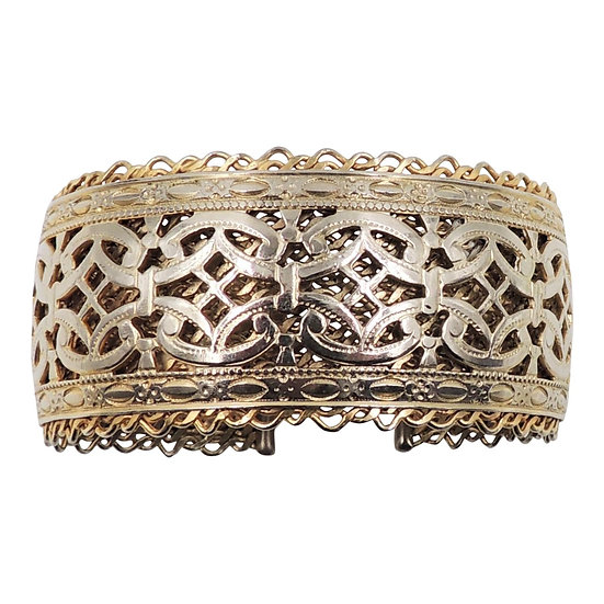 1960s Jewels by Julio Goldtone Cut Out Cuff Bracelet
