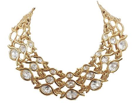 Napier Limited Edition Goldtone & Swarovski Rhinestones Collar Necklace, 1990