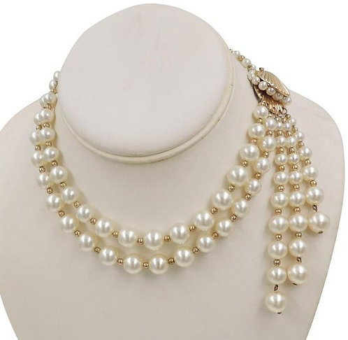 Rare Early 1950s Napier Goldtone Shell Faux-Pearl Waterfall Necklace