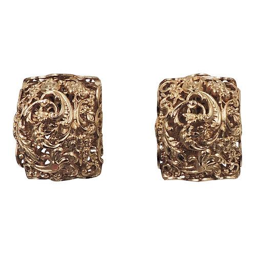Napier Goldtone Foliate Half Hoop Earrings, 1972