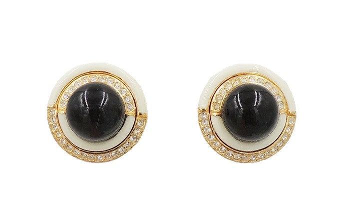 1980s Ciner Faux-Onyx Cabochon Rhinestone & White Enamel Earrings